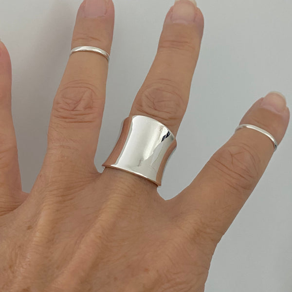 Sterling Silver Concave Band, Statement Ring, Boho Ring, Silver Band, Silver Ring