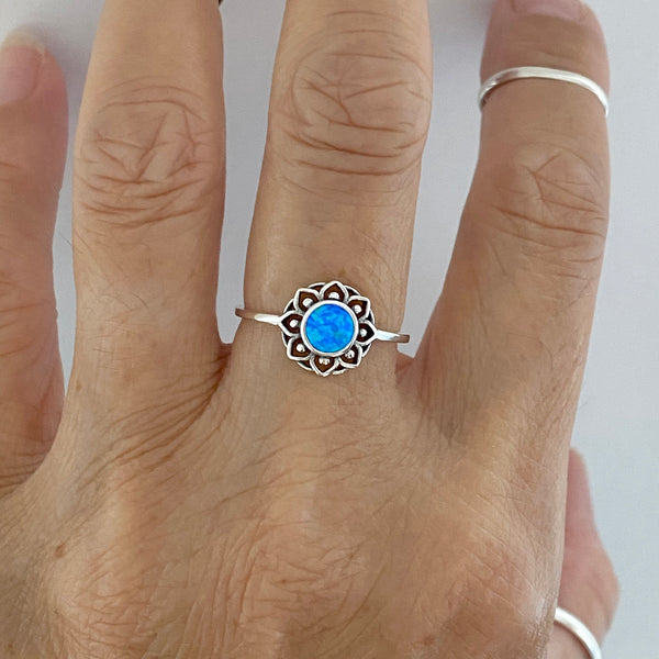 Sterling Silver Blue Lab Opal Mandala Ring, Flower Ring, Boho Ring