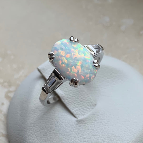 Sterling Silver Large Oval White Lab Opal with CZ Ring, Opal Ring, Silver Rings