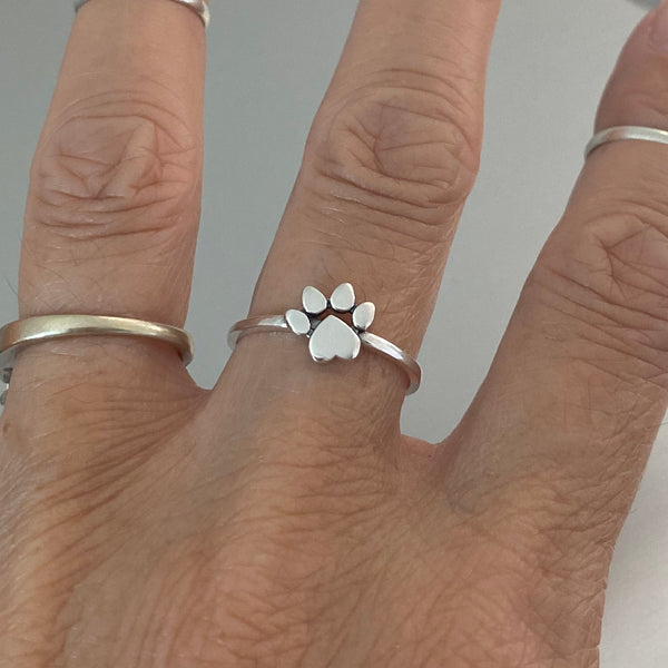 Sterling Silver Heart Paw Print Ring, Silver Ring, Animal Ring, Pet Ring, Kids Ring, Paw Ring