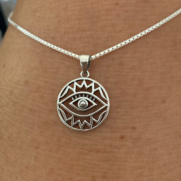 Sterling Silver Religious All Seeing Eye Box Chain Necklace