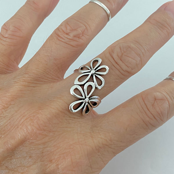 Sterling Silver 2 Large Flower Ring, Silver Ring, Statement Ring, Boho Ring