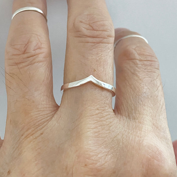 Sterling Silver Plain Chevron Ring, V Shape Ring, Silver Ring, Silver Band