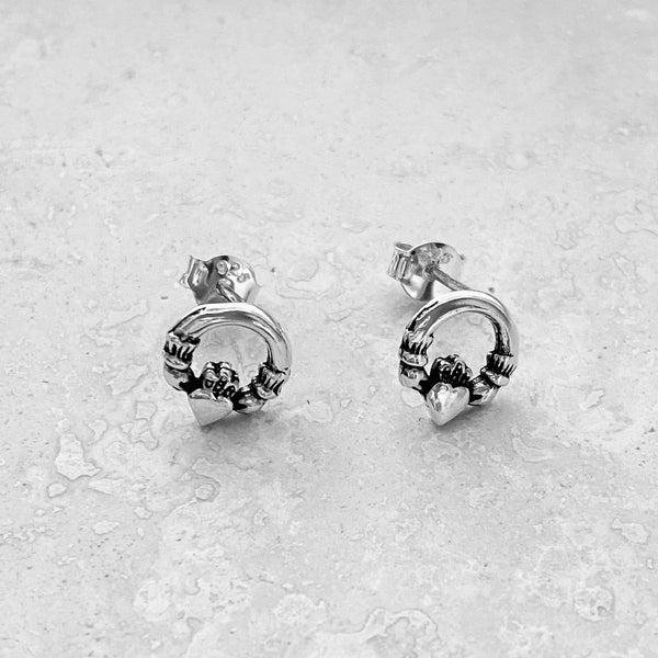 Sterling Silver Claddagh Earrings, Irish Earrings, Silver Earrings, Friendship Earrings