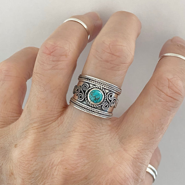 Sterling Silver Bali Style Genuine Turquoise Ring, Statement Ring, Boho Ring, Silver Ring