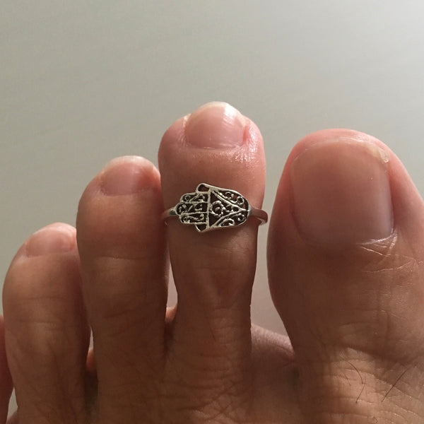 Sterling Silver Hand of Fatima Toe Ring, Religious Ring, Hamsa Ring