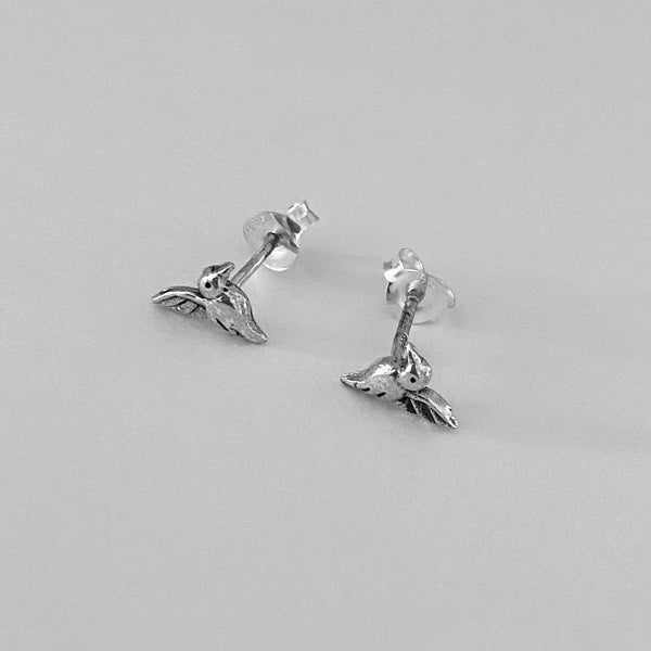 Sterling Silver Tiny Hummingbird Earrings, Silver Earrings, Stud Earrings, Spirit Animal Earrings