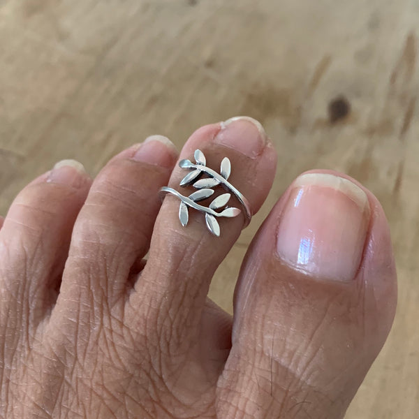 Sterling Silver Leaves Toe Ring, Silver Rings, Leaf Ring