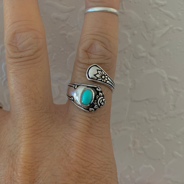Sterling Silver Spoon Style Ring with Synthetic Turquoise, Spoon Ring, Silver Rings