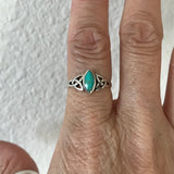 Sterling Silver Small Celtic Turquoise Ring, Silver Ring, Boho Ring, Celtic Ring