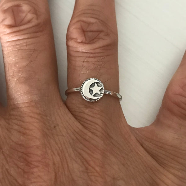 Sterling Silver Moon and Star Inside a Circle Ring