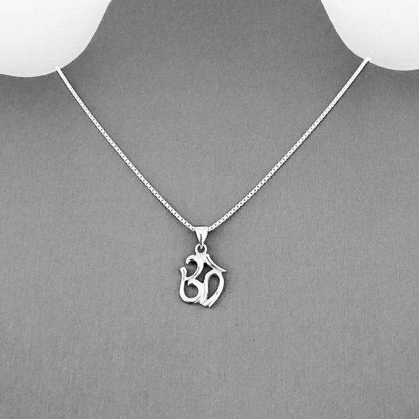 Sterling Silver Small OM Necklace, Silver Necklace, Yoga Necklace, Boho Necklace