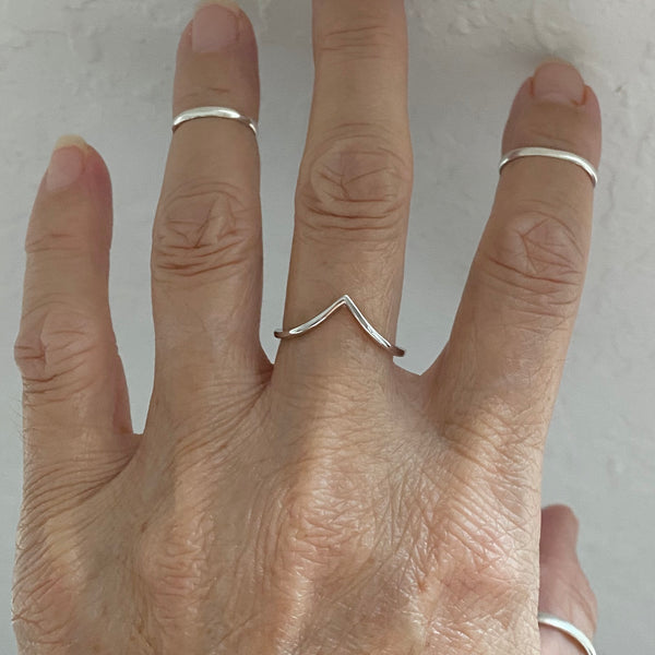 Sterling Silver Deep V Shape Ring, Silver Ring, Stackable Ring, Boho Ring