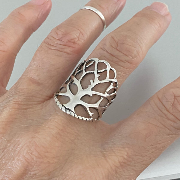 Sterling Silver Wrapped Tree of Life Ring, Tree Ring, Silver Ring, Statement Ring, Leaf Ring