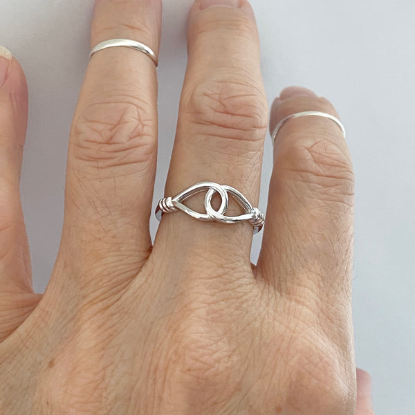 Sterling Silver Knotted Loop Ring, Boho Ring, Knot Ring, Silver Ring