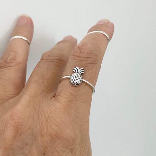 Sterling Silver Dainty Pineapple Ring, Tree Ring, Silver Ring, Fruit Ring