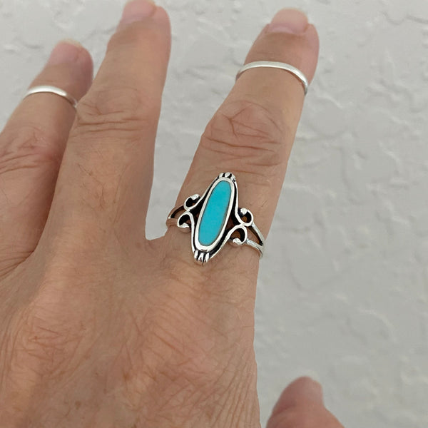 Sterling Silver Turquoise Ring, Silver Rings, Statement Ring, Boho Ring