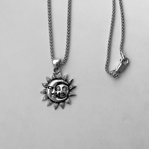 Sterling Silver Moon and Sun Necklace, Moon Necklace, Sunshine Necklace, Necklaces