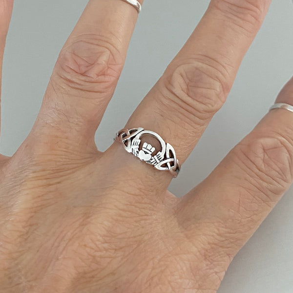 Sterling Silver Celtic Claddagh Ring, Silver Ring, Friendship Ring, Loyalty Ring, Irish Ring
