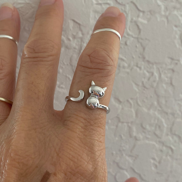 Sterling Silver Adjustable Cat Ring, Silver Ring, Animal Ring, Pet Ring, Kids Ring