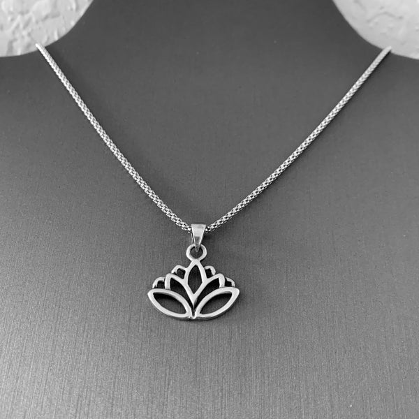 Sterling Silver Cut Out Lotus Necklace, Silver Necklace, Flower Necklace, Spirit Necklace