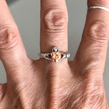 Sterling Silver Claddagh with Champagne CZ Heart Ring