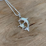 Sterling Silver White Lab Opal Dolphin and Turtle Necklace, Silver Necklace, Dolphin Necklace