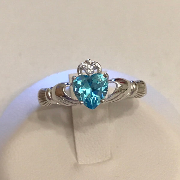 Sterling Silver Aquamarine CZ Heart Claddagh Ring, Silver Ring, Friendship Ring, Loyalty Ring