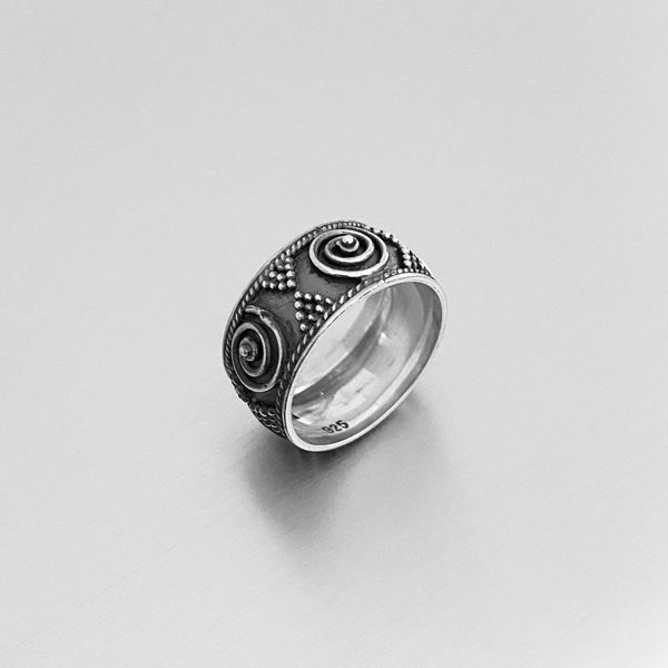 Sterling Silver Vintage Bali Design Ring, Silver Ring, Boho Ring, Silver Band