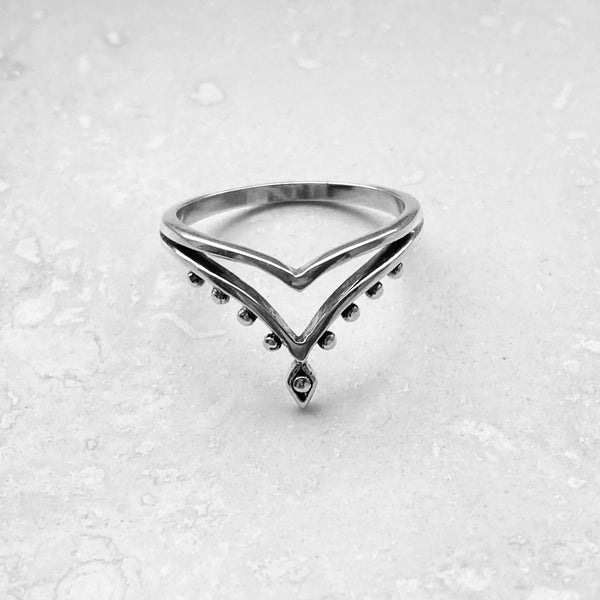 Sterling Silver Double V Shape Ring, Silver Ring, Boho Ring