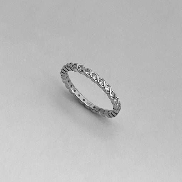 Sterling Silver Eternity CZ Braided Ring, Boho Ring, Silver Ring, Wedding Ring