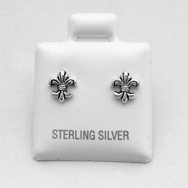 Sterling Silver Tiny Fleur De Lis Earrings, Saints Earrings, Silver Earrings, Stud Earrings
