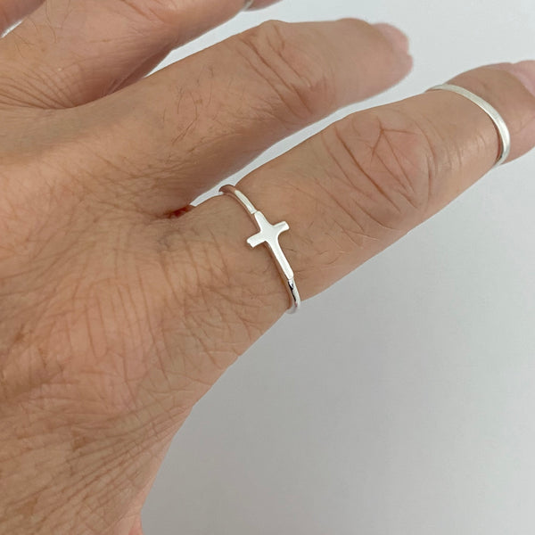 Sterling Silver Small Sideway Cross Ring, Dainty Ring, Religious Ring, Silver Ring