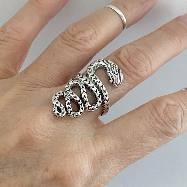 Sterling Sterling Large Heavy Snake Ring, Silver Ring, Reptile Ring, Animal Ring
