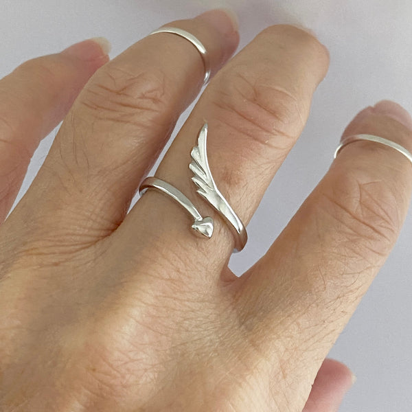 Sterling Silver Wraparound Heart and Angel Wing Ring, Silver Ring, Boho Ring, Heart Ring
