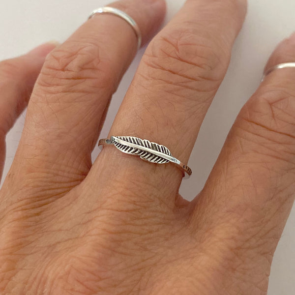 Sterling Silver Tiny Feather Ring, Silver Rings, Angels Wing, Bird Ring