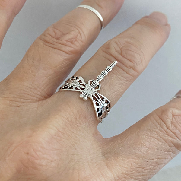 Sterling Silver Thin Dragonfly Ring, Silver Ring, Boho Ring, Spirit Ring