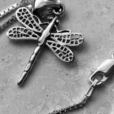 Sterling Silver Dragonfly Necklace, Silver Necklace, Boho Necklace