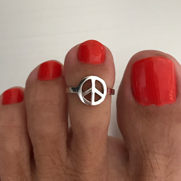Sterling Silver Adjustable Peace Toe Ring