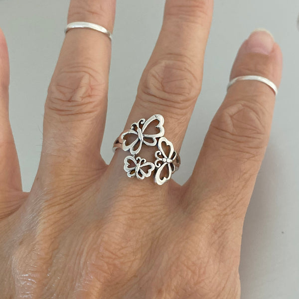 Sterling Sterling Three Butterfly Ring, Silver Ring, Boho Ring, Spirit Ring