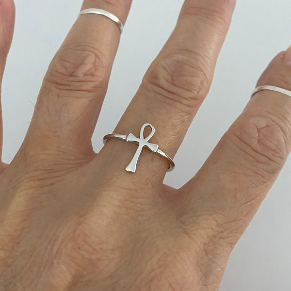 Sterling Silver Ankh Ring, Silver Rings, Religious Ring, Cross Ring