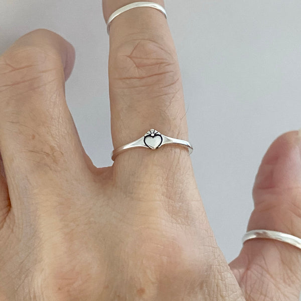 Sterling Silver Mini Claddagh Heart Ring, Dainty Ring, Friendship Ring, Silver Ring, Love Ring