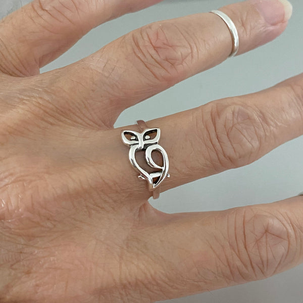 Sterling Silver Cut Out Owl Ring, Silver Rings, Feather Ring, Bird Ring