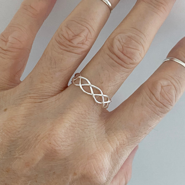 Sterling Silver Wire Weave Ring, Silver Ring, Boho Ring