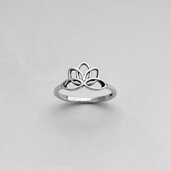 Sterling Silver Lotus Ring, Flower Ring, Silver Rings, Boho Ring, Stackable Ring