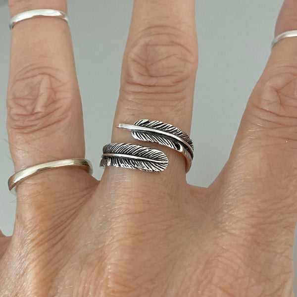 Sterling Silver Angel Feather Ring, Silver Ring, Angels Wing Ring, Religious Ring, Boho Ring