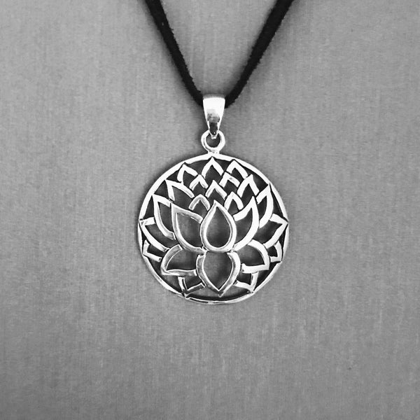 Sterling Silver Lotus Silhouette Pendant, Yoga Jewelry
