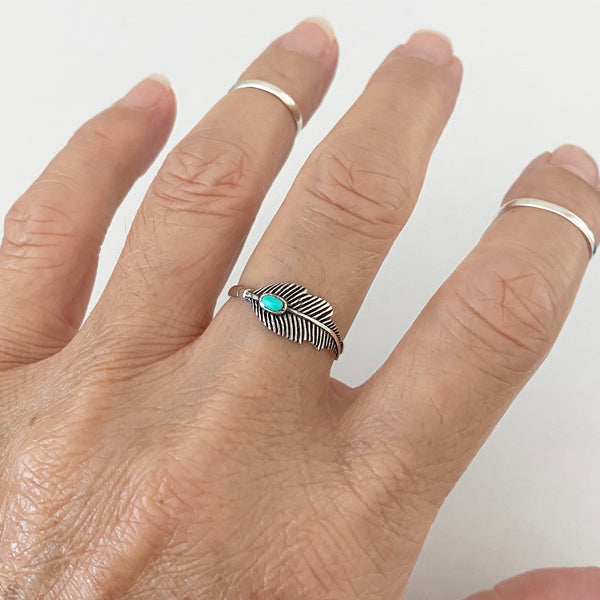 Sterling Silver Feather Ring with Synthetic Turquoise, Boho Ring, Silver Ring