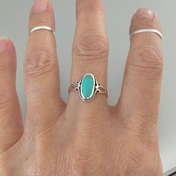 Sterling Silver Oval Turquoise Ring, Stone Ring, Silver Ring, Boho Ring