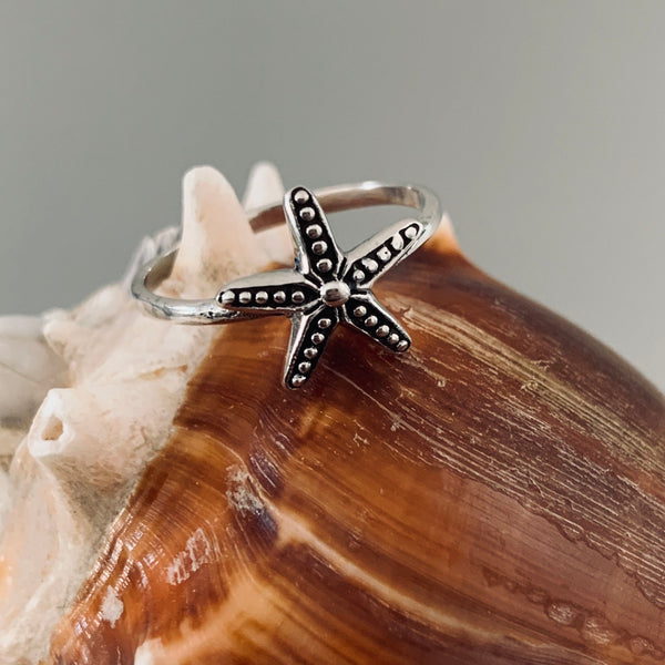 Sterling Silver Starfish Ring, Silver Ring, Dainty Ring, Seashell Ring, Star Ring, Beach Ring